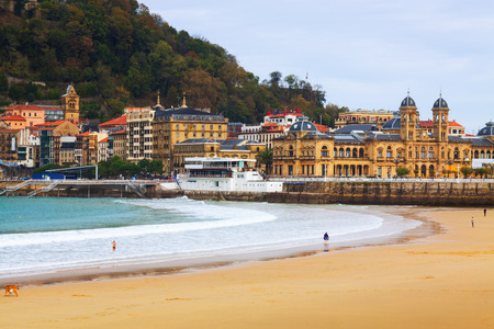 La Concha beach in autumn day at San Sebastian.  Spain