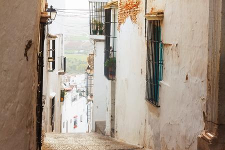 view of  picturesque  street in european city. Arcos de la Frontera,  Spain