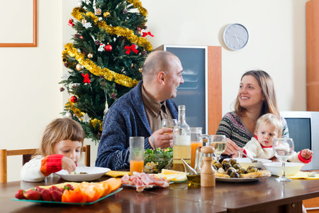 Family Christmas portrait  at home  interior