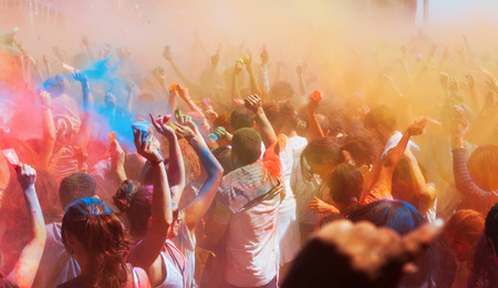 BARCELONA, SPAIN - APRIL 6, 2014:  Festival Holi in Barcelona. It is traditional holiday of Indian Culture