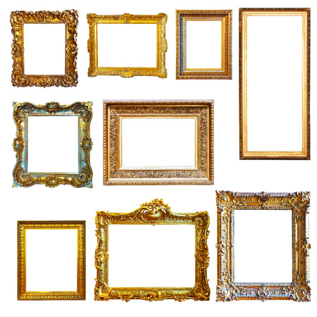 Photo for Set of vintage gold picture frames on white background - Royalty Free Image