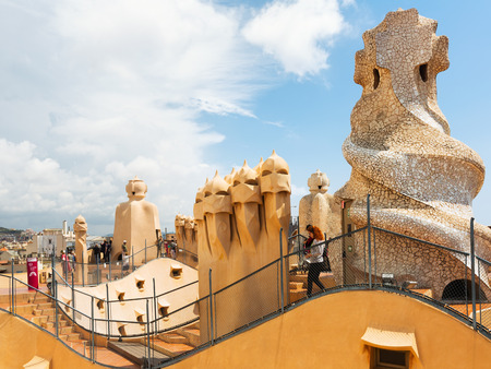 BARCELONA, SPAIN - JUNE 15, 2015: Roof of Casa Mila (La Pedrera) built in 1905–1910 by  architect Antoni Gaudi. Barcelona