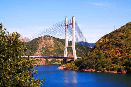 Cable-stayed bridge over reservoir of Barrios de Luna.  Leon, Spain