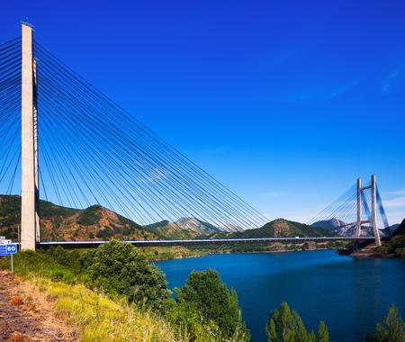 LEON, SPAIN - JULY 2, 2015:  Bridge over reservoir of Barrios de Luna by engineer Carlos Fernandez Casado.  Leon