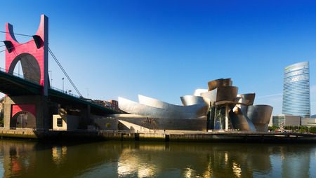BILBAO, SPAIN - JULY 4, 2015: La Salve Bridge, Guggenheim Museum and Torre Iberdrola in Bilbao. Spain