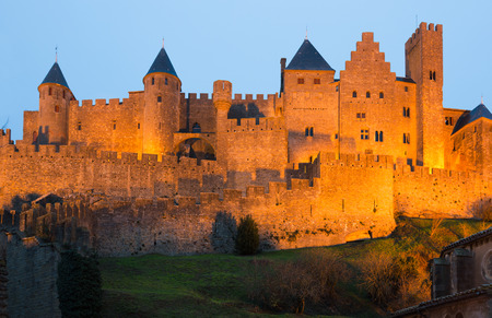 Medieval Castle at Carcassonne in twilight time.  France