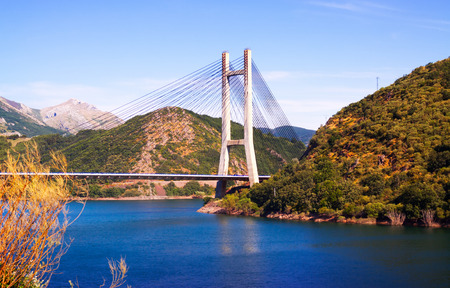 LEON, SPAIN - JULY 2, 2015:  Bridge over reservoir of Barrios de Luna by engineer Carlos Fernandez Casado.  Leon, Spain