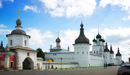 ROSTOV, RUSSIA – AUGUST 27, 2016: day shot of Rostov Kremlin and Uspensky cathedral in provincial town in Russia