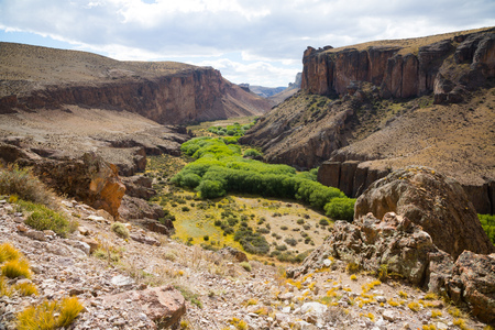 General view of the Pinturas River Canyon in Santa Cruz province in Argentina