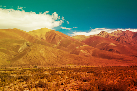General view of the Andes from valley near Las Lenas in Argentina