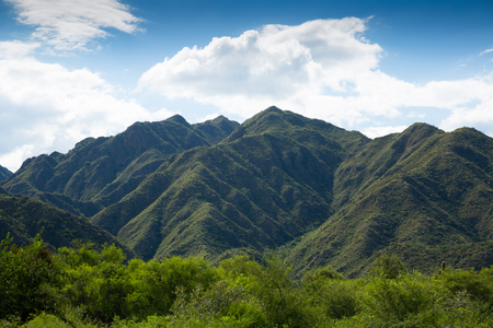 Mountain view on the Andes in nature reserve park Valle Fertil in Argentina