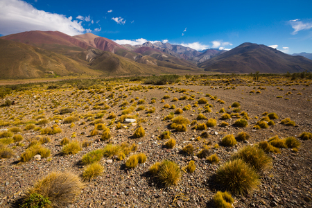 View of mountains and valley near Las Lenas in summer day. Andes, Argentina