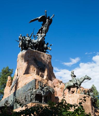 Monument in city park of Mendoza, on hill Cerro de la Gloria. Mendoza, Argentina, Patagonia, South America