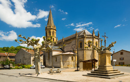 View of functional Catholic �hurch of Saint-Michel in Lestelle-de-Saint-Martory, France