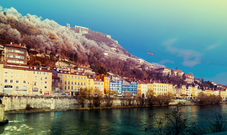 Picture of view of French Alps and Grenoble cable car in autumn, France