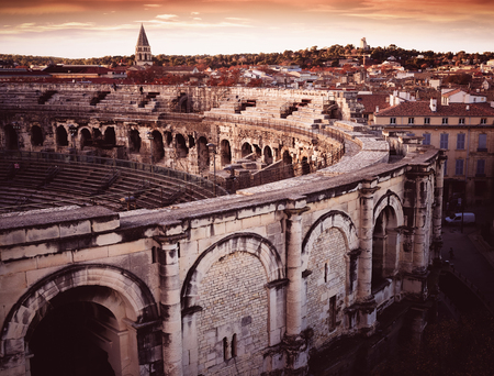 Exterior of Arena of Nimes, ancient Roman amphitheater in France