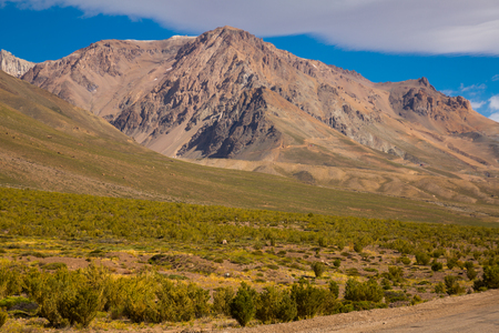 Andes mountains and Valle Hermoso valley near Las Lenas. Argentina, South America