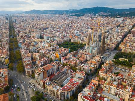 Foto de Aerial view of Sagrada Familia – impressive cathedral designed by Gaudi, Barcelona - Imagen libre de derechos
