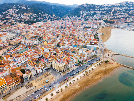 Photo for Aerial view of sand beach and city Roses, Catalonia - Royalty Free Image