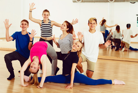 Photo for Portrait of  emotional teen  posing at dance  class - Royalty Free Image