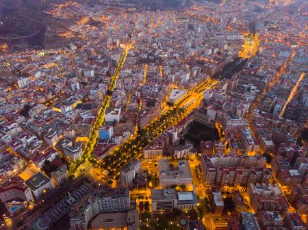 Photo pour Aerial view of Almeria at twilight. Spain - image libre de droit