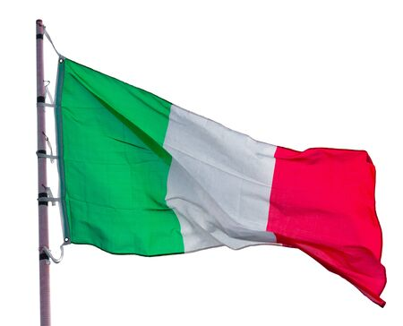 Photo pour Image of national flag of Italy waving on flagpot isolated over white background - image libre de droit