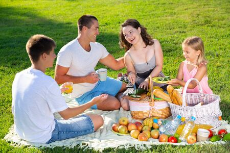 Photo for Cheerful attractive woman picnicking with her children and husband on green lawn in summer city park - Royalty Free Image