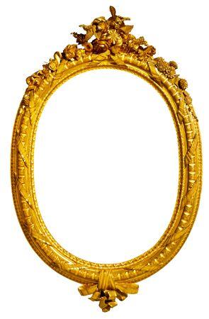 Photo pour oval gold picture frame - image libre de droit