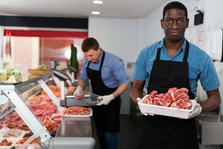 Skillful adult positive butcher with colleague working behind counter in butchery