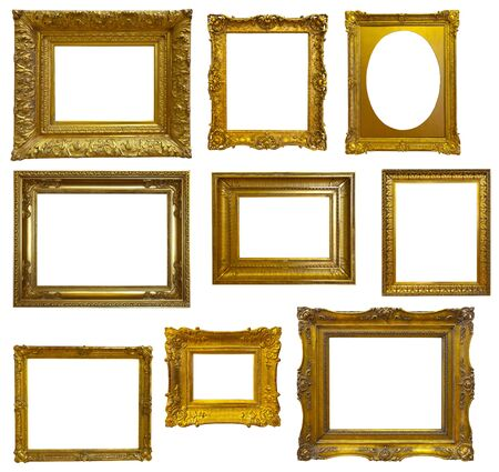 Photo pour Set of luxury gilded  frame. Isolated over white background, may be used for photo or picture     - image libre de droit