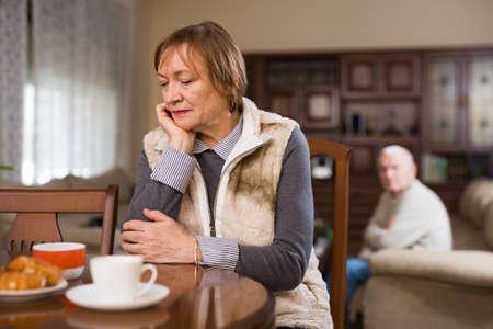 Photo pour Elderly couple quarreling at home - image libre de droit