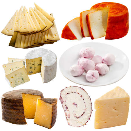 Photo pour Collection of cheeses isolated on white background - image libre de droit