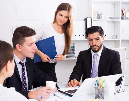 Photo pour Business partners discussing in office - image libre de droit
