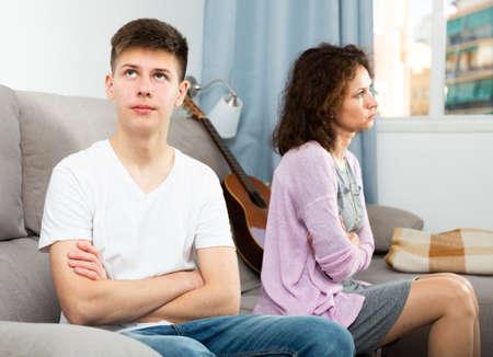 Photo pour Upset teenager after quarrel with mother - image libre de droit