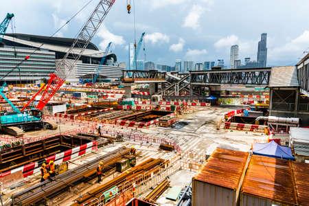 Foto für Construction works site with cranes in Wan Chai Hong Kong - Lizenzfreies Bild