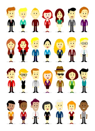 Cute Cartoon Business Man and Woman Wearing Various Colorful Suits