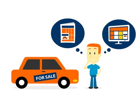 Man Thinking to Sell His Old Car on Newspaper Ads or Website Ads (in Flat Cartoon Style)