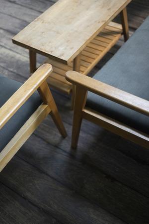 interior design detail of retro cool wood furniture