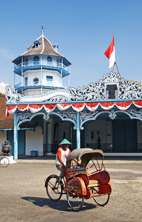becak cyclo taxi in solo city java indonesia