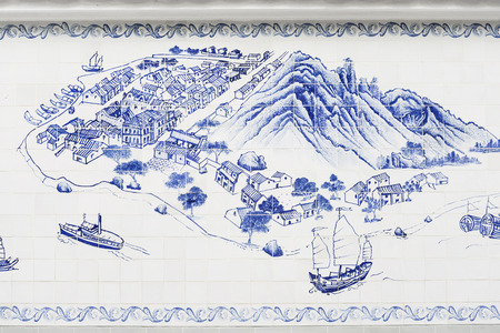 taipa island in macau painted on portuguese azulejo tiles