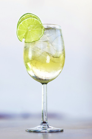 martini bianco vermouth spritzer with lime cocktail