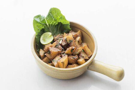 Photo pour batata harra traditional  lebanese mezze spicy fried potato starter dish - image libre de droit