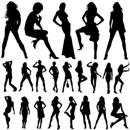collection of model woman vector