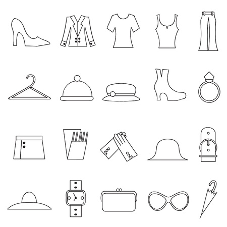 woman fashion and clothes icons