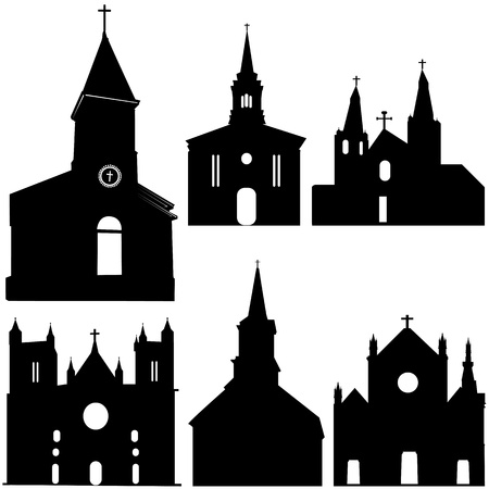 silhouette of church vector art