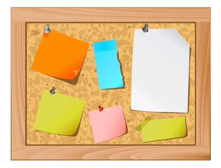 cork board and note paper vector