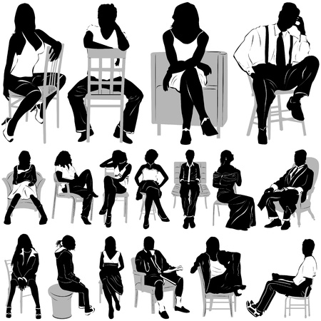 sitting people