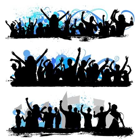 Illustration pour crowd silhouettes - image libre de droit