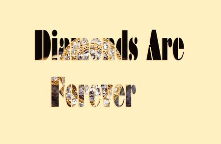 Photo pour Diamonds Are Forever - text with a diamond ring forming the letters, suitable for immediate web, print, professional or personal use - image libre de droit