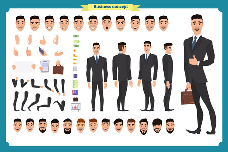 Ilustración de Front, side, back view animated character. Manager character creation set with various views, hairstyles, face emotions, poses and gestures. Cartoon style, flat vector illustration.People character - Imagen libre de derechos